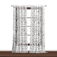 """Bathroom and More Collection Set of Two (2) SHEER Window Curtain Panels: White with Gray Bird, Flower & Vine Design (Panel Pair (2) 84"""" L)"""