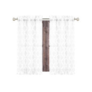"Bathroom and More Collection Pure White 2 Piece Window Curtain Café Tier Set Textured Moroccan Trellis Tile Design (Cafe/Tier Pair (2): 24"" L)"