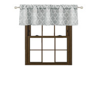 "Bathroom and More Collection Gray Window Curtain Valance: Textured Moroccan Trellis Tile Design (Single (1) Valance: 54"" W x 15"" L)"