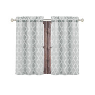 "Bathroom and More Collection Gray 2 Piece Window Curtain Café Tier Set Textured Moroccan Trellis Tile Design (Cafe/Tier Pair (2): 24"" L)"