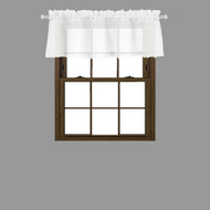 Bathroom and More Collection SHEER White Window Curtain Valance with 3-D Small Soft Tufts Design: 55in Wide X 15in Long (Single (1) Valance 56in W x 15in L)