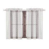 Bathroom and More Collection SHEER 2 Piece Silver/Light Gray Window Curtain Café/Tier Set: 3-D Small Soft Tufts Design, 24in Long Each (Pair (2) Tiers 24in L Each)