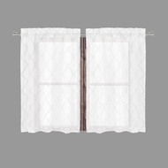 Bathroom and More Collection Sheer 2 Piece White Window Curtain Café/Tier Set: Embroidered Metallic Silver Moroccan Trellis Design (Pair (2) Tiers 24in L Each)