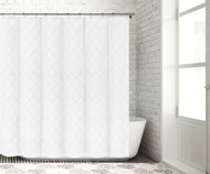 """Bathroom and More Collection SHEER White Fabric Shower Curtain with Embroidered Metallic Silver Moroccan Trellis Design (Shower Curtain 72"""" L)"""