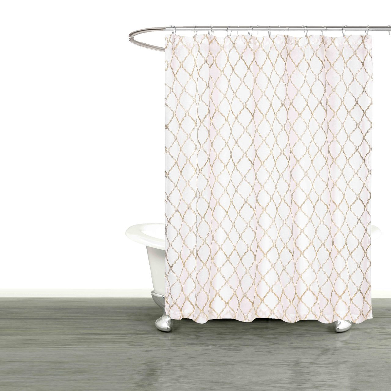 Bathroom And More Collection SHEER White Fabric Shower Curtain
