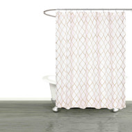 "Bathroom and More Collection SHEER White Fabric Shower Curtain: Embroidered Moroccan Trellis Design with Taupe and Metallic Silver Thread, Standard Size (Shower Curtain 72"" L)"