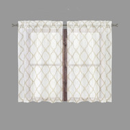 Bathroom and More Collection Sheer 2 Piece Off-White Window Curtain Café/Tier Set: Embroidered Moroccan Trellis Design with Taupe and Metallic Silver (Pair (2) Tiers 24in L Each)