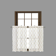 Bathroom and More Collection Sheer 2 Piece Off-White Window Curtain Café/Tier Set: Embroidered Moroccan Trellis Design with Taupe and Metallic Silver (Pair (2) Tiers 36in L Each)