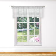 Bathroom and More Collection Pure White Sheer Window Curtain Valance with Stripe Design (Single (1) Valance 56in W x 15in L)