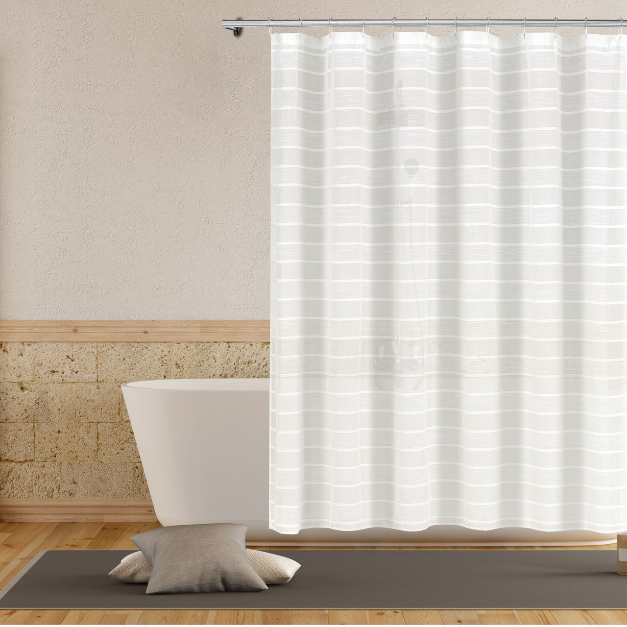 Bathroom And More Collection Sheer Fabric Shower Curtain White And Linen Beige Stripe Design Size Shower Curtain 72 L