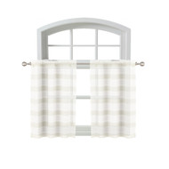 Bathroom and More Collection 2 Piece SHEER Window Curtain Café/Tier Set: White and Linen/Beige Stripe Design (Pair (2) Tiers 24in L Each)