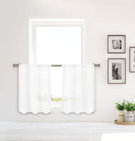 Bathroom and More Collection SHEER 2 Piece Window Curtain Café/Tier Set Pure White with Crystal Rhinestones (Pair (2) Tiers 36in L Each)