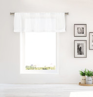 Bathroom and More Collection Pure White Sheer Window Curtain Valance with Crystal Rhinestones Design (Single (1) Valance 55in W x 16in L)