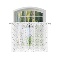 Bathroom and More KIRA Collection SHEER 2 Piece Window Curtain Café/Tier Set Pure White with Embroidered Gray and Metallic Silver Leaf Design (Pair (2) Tiers 24in L Each)