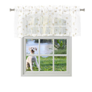 Bathroom and More Collection Pure White Sheer Window Curtain Valance with Embroidered White and Metallic Silver Leaf Design (Single (1) Valance 53in W x 15in L)