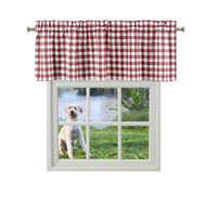 Bathroom and More Collection Burgundy and White Cotton Rich Window Valance: Buffalo Check Design (Single (1) Valance 55in W x 15in L)