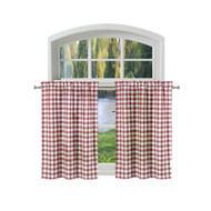 Bathroom and More Collection 2 Piece Window Curtain Café/Tier Set: Burgundy and White Cotton Rich Buffalo Check Design (Pair (2) Tiers 24in L Each)