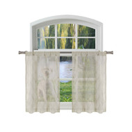 Bathroom and More Collection Taupe SHEER 2 Piece Window Curtain Café/Tier Set: Embroidered Diamond Trellis Design with Taupe and Metallic Silver Thread (Pair (2) Tiers 24in L Each)