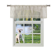 Bathroom and More ADLEY Collection Taupe SHEER Window Curtain Valance: Embroidered Diamond Trellis Design Taupe and Metallic Silver Thread (Single (1) Valance 56in W x 15in L)