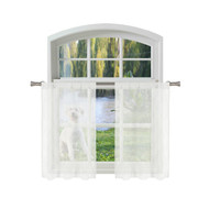 Bathroom and More Collection Off White SHEER 2 Piece Window Curtain Café/Tier Set: Embroidered Diamond Trellis Design with Off White and Metallic Silver Thread (Pair (2) Tiers 24in L Each)