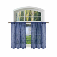 Bathroom and More Collection Sheer 2 Piece Navy Blue Window Curtain Café/Tier Set: Embroidered Moroccan Trellis Design with Navy Blue and Metallic Silver Thread (Pair (2) Tiers 36in L Each)