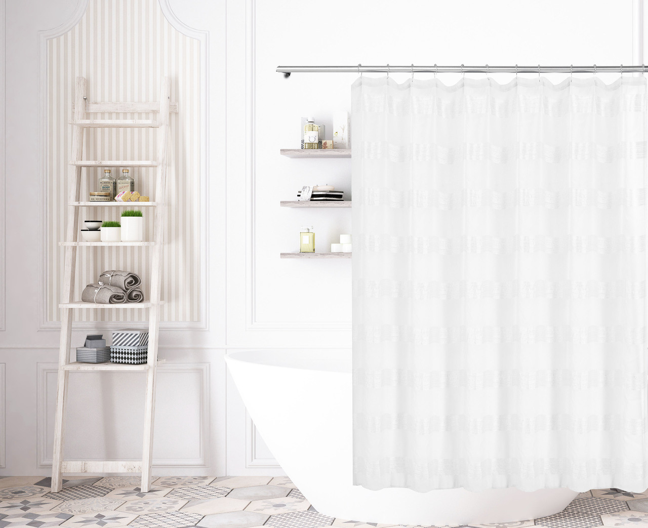 Bathroom And More Collection SHEER Pure White Shower Curtain Stripe