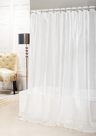 Bathroom And More Collection SHEER Pure White Shower Curtain Stripe Design 78in L