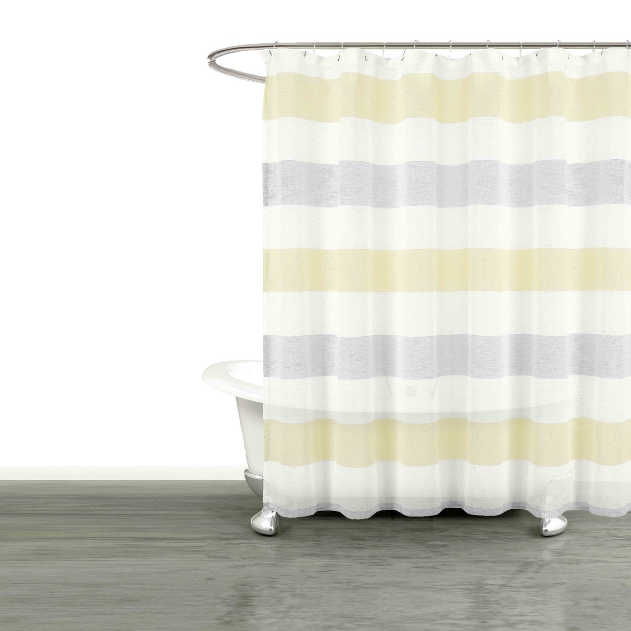 Bathroom And More Collection Sheer Fabric Shower Curtain White Yellow Gray Cabana Stripe Design Shower Curtain 78 Long