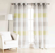 "Bathroom and More Set Two (2) Gray, Yellow White Sheer Window Curtain Panels: Cabana Stripe, Grommets (Panel Pair (2) 96"" Long)"