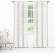 "Bathroom and More Collection Set of Two (2) Pure White Sheer Window Curtain Panels: Silver Raised Metallic Botanical Design, Panel Pair (2) 84"" L"