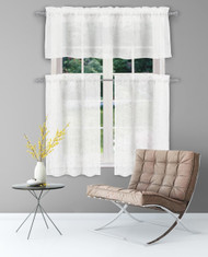 Bathroom and More Collection Sheer Pure White Window Curtain Valance: Silver Raised Metallic Botanical Design, Single (1) Valance 56in W x 15in L