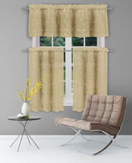 Bathroom and More Collection Taupe Sheer 2 Piece Window Curtain Café/Tier Set: Gold Raised Metallic Botanical Design, Pair (2) Tiers 24in L Each
