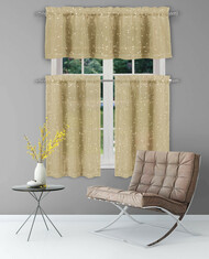 Bathroom and More Collection Sheer Taupe Window Curtain Valance: Gold Raised Metallic Botanical Design, Single (1) Valance 56in W x 15in L
