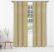 "Bathroom and More Collection Set of Two (2) Taupe Sheer Window Curtain Panels: Gold Raised Metallic Botanical Design, Panel Pair (2) 84"" L"