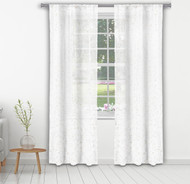 "Bathroom and More Collection Set of Two (2) Pure White Sheer Window Curtain Panels: Gold Raised Metallic Botanical Design, Panel Pair (2) 84"" L"