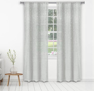 "Bathroom and More Collection Set of Two (2) Light Gray Sheer Window Curtain Panels: Silver Raised Metallic Botanical Design, Panel Pair (2) 84"" L"