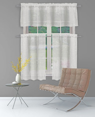 Bathroom and More Collection Light Gray Sheer 2 Piece Window Curtain Café/Tier Set: Silver Raised Metallic Botanical Design, Pair (2) Tiers 36in L Each