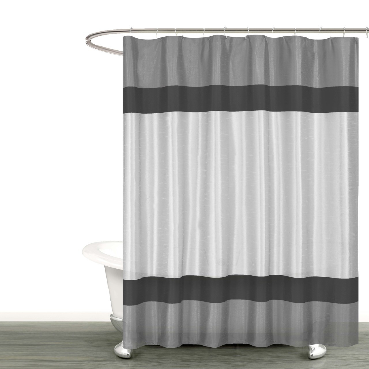 Gray Silver And Black Fabric Shower Curtain With Stripe Design Bathroom And More Collection 72 W X 72 Long Standard