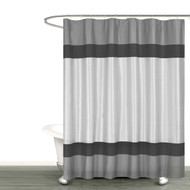 "Gray Silver and BlackFabric Shower Curtain with Stripe Design: Bathroom and More Collection (72"" W x 78"" Extra Long)"
