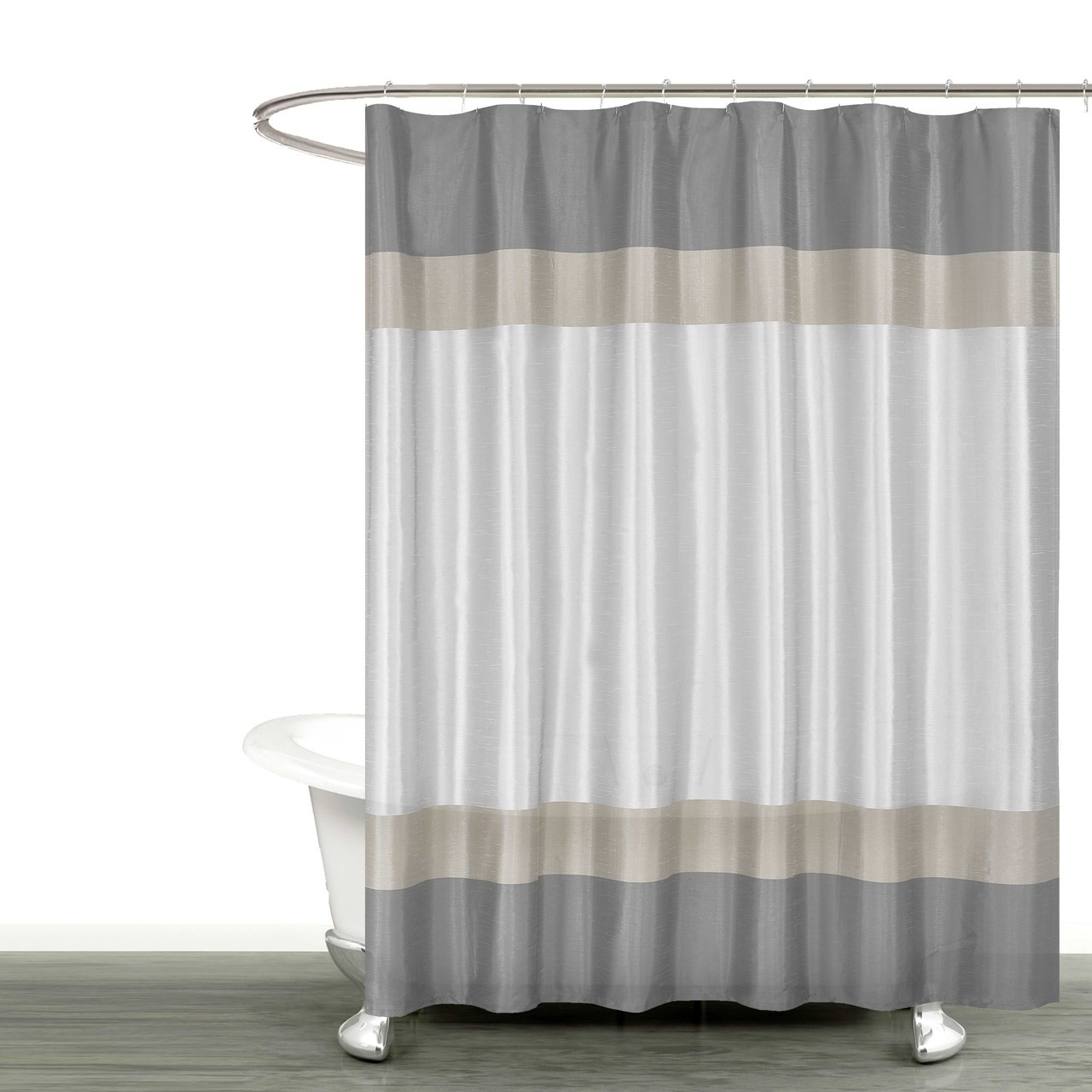 Gray Silver And Taupe Fabric Shower Curtain With Stripe Design Bathroom And More Collection 72 W X 78 Extra Long