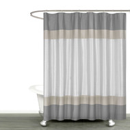 "Gray Silver and Taupe Fabric Shower Curtain with Stripe Design: Bathroom and More Collection (72"" W x 78"" Extra Long)"