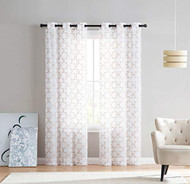 "Set of Two (2) White Sheer Window Curtains: Gold/Taupe Embroidered Geometric Design 96"" Long"