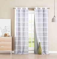 "4 PC Grommet Window Curtain Panel Set Mix and Match Layered Look 2 Gray Faux Silk Panels 2 White Burnout Sheer Panels 84"" Long"