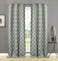 "Home Maison Set of Two (2) Gray Semi Sheer Window Curtain Panels: White Embroidered Geometric Trellis Design, 84"" Long"