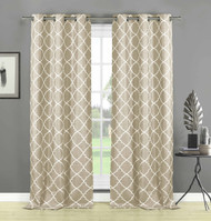 "Home Maison Set of Two (2) Beige/Linen Semi Sheer Window Curtain Panels: White Embroidered Geometric Trellis Design, 84"" Long"