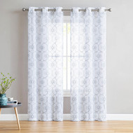 "Set of Two (2) White Sheer Window Curtains: Gray Embroidered Floral Lattice Design 96"" Long"