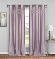 Bathroom and More Set of Two (2) Lavender Faux Silk Grommet Panels: Shiny Accent Stripes, 76W x 84L (Lavender)