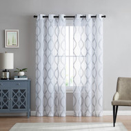 "Set of Two (2) White Sheer Window Curtains: Gray Embroidered Floral Lattice Design 84"" Long"