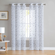 "Set of Two (2) White Sheer Window Curtains: Gray Embroidered Botanical Floral Design 96"" Long"