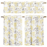 "Bathroom and More Collection Yellow, Taupe and Off-White 3-Piece Sheer Window Curtain Set: 1 Valance, 2 Café/Tiers, Floral Vine Design (24"" Long)"